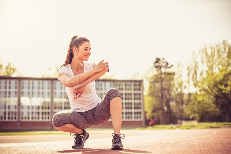 Exercise with good music is easier. royalty free stock photography