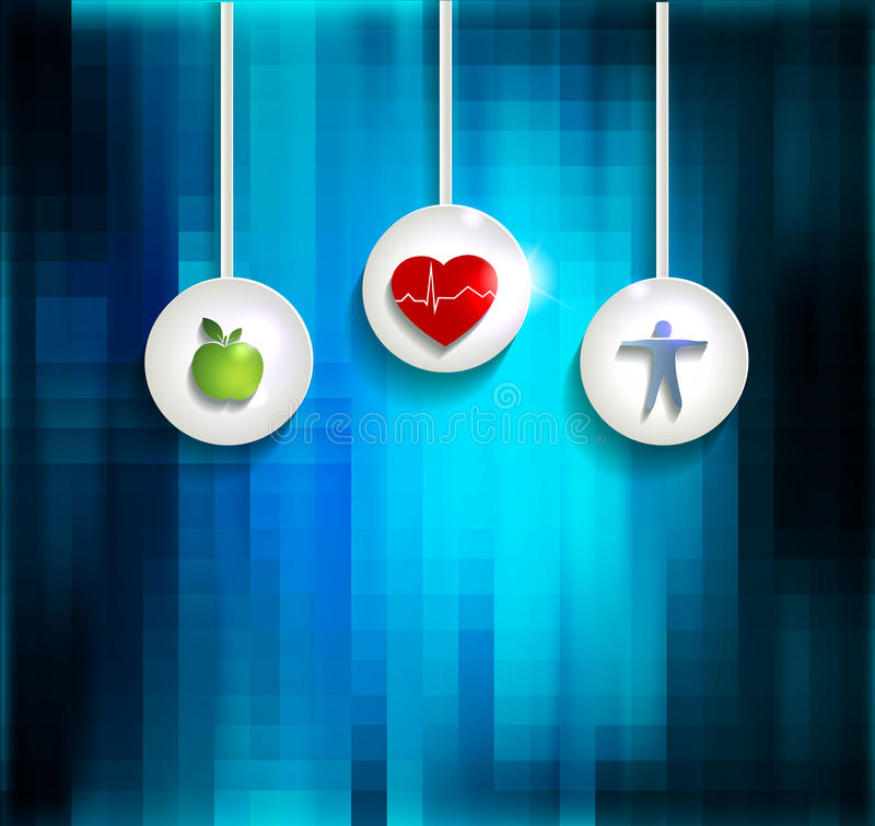 Exercise, healthy diet and Cardiovascular Health. Symbols on abright blue abstract background royalty free illustration