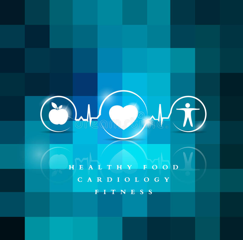 Exercise, healthy diet and Cardiovascular Health. Symbols connected with heart beat line royalty free illustration