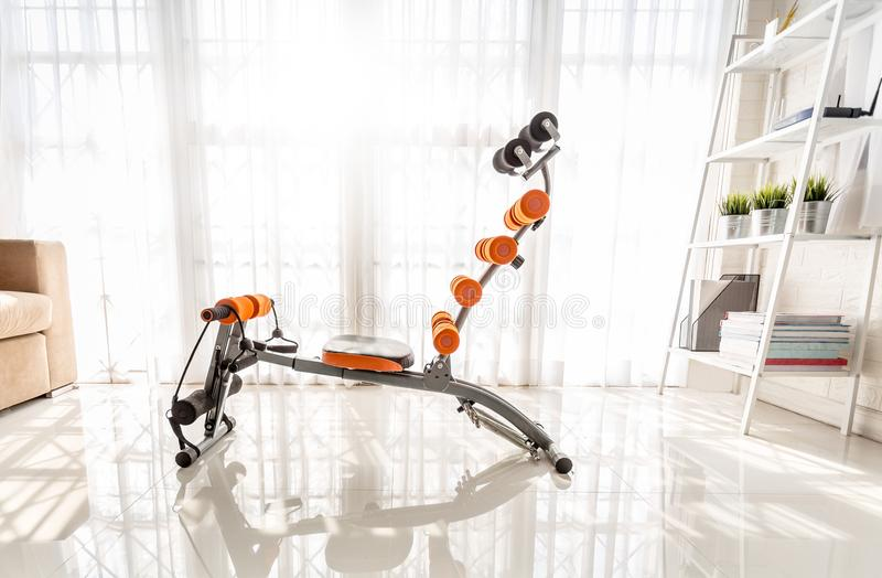 Exercise machines sit-ups at the home.  royalty free stock image