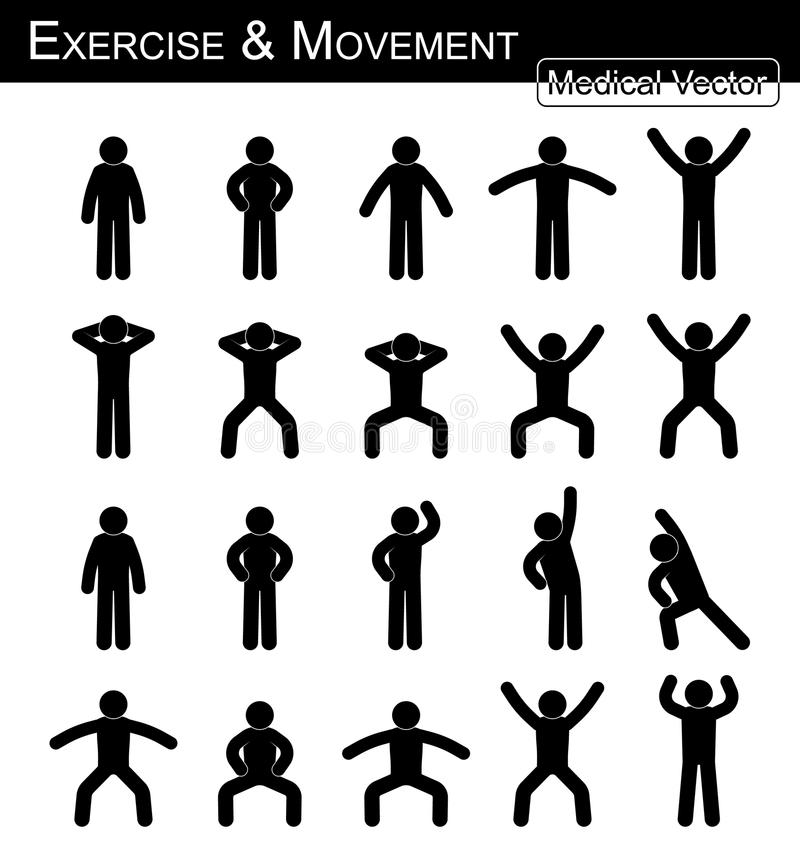 Exercise and Movement. ( move step by step simple flat stick man vector Medical , Science and Healthcare concept vector illustration