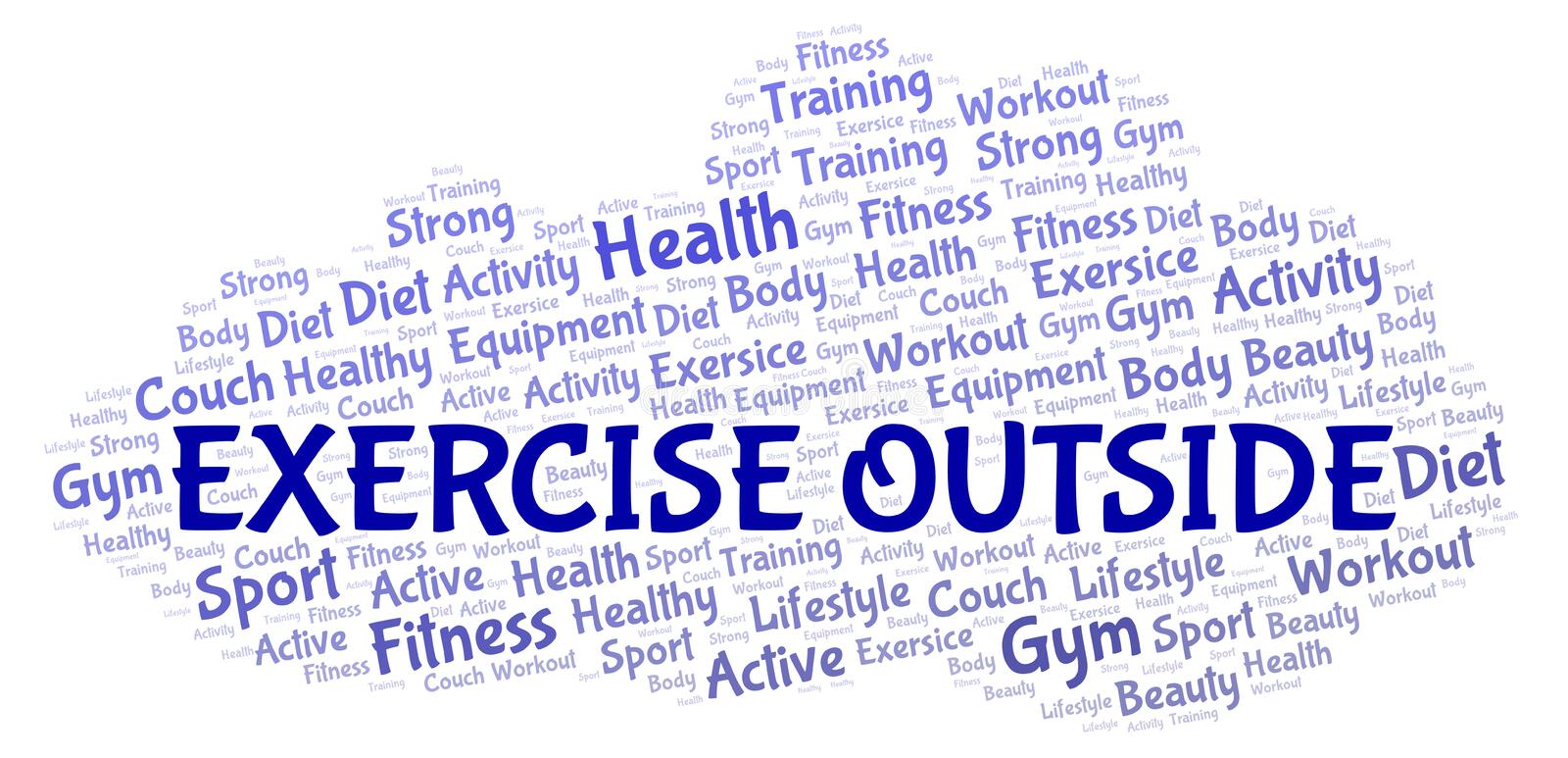 Exercise Outside word cloud. Wordcloud made with text only stock illustration