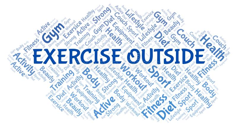Exercise Outside word cloud. Wordcloud made with text only vector illustration