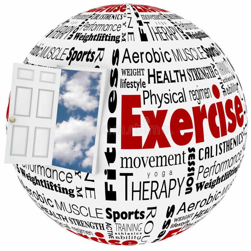 Exercise Physical Fitness Active Lifestyle Door to Opportunity royalty free illustration