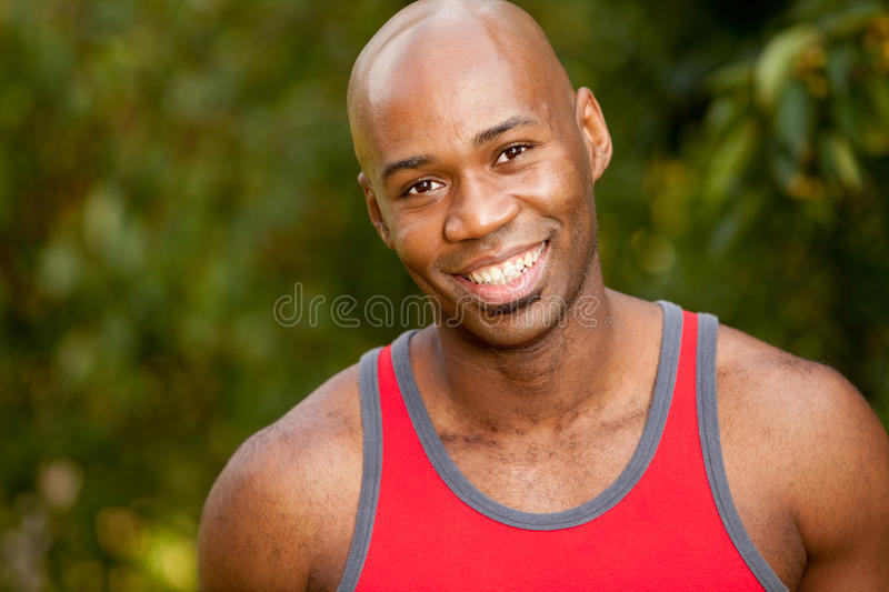 Exercise Portrait. A portrait of an African American man taking a break while exercising royalty free stock photography