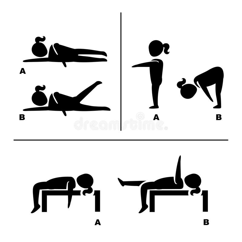 Free Exercise Poses For Healthy Pictograms Illustration Stock Photos - 75438433