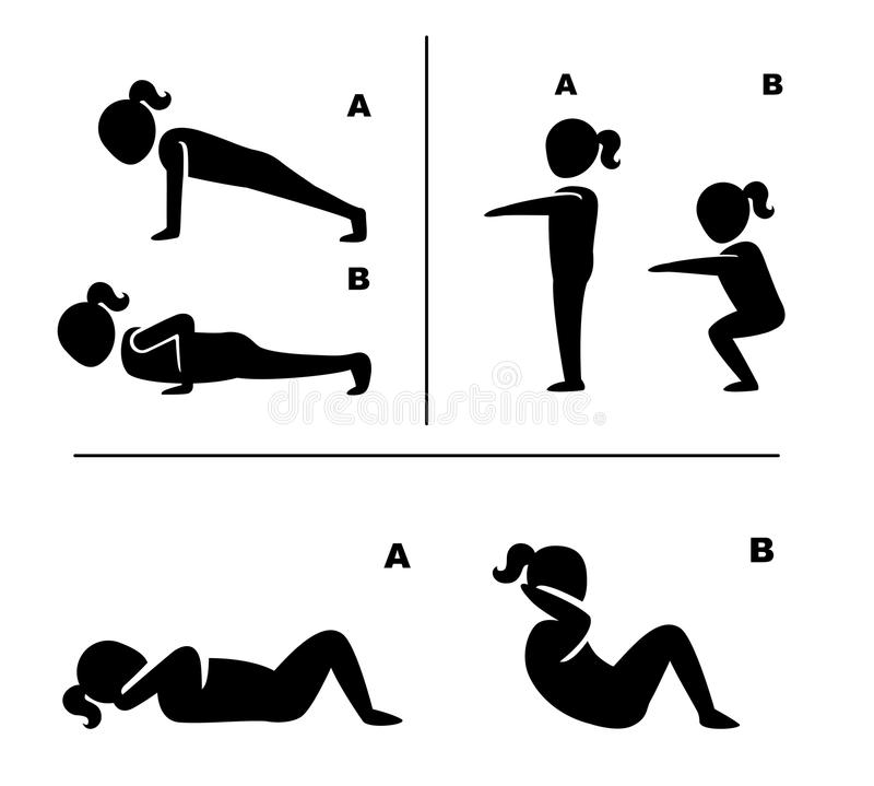 Free Exercise Poses For Healthy Pictograms Illustration Royalty Free Stock Photo - 75438435