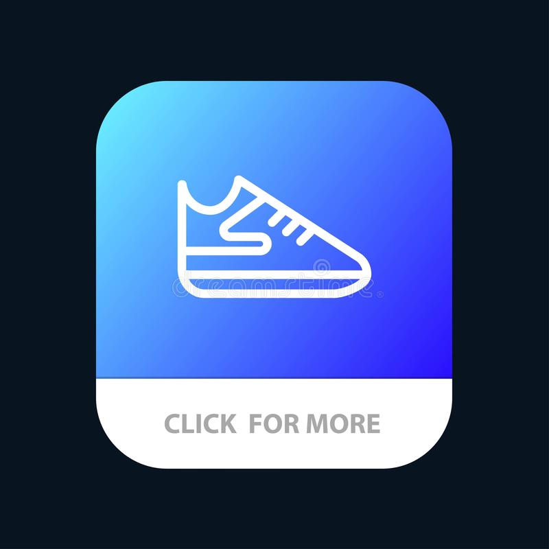Exercise, Shoes, Sports Mobile App Button. Android and IOS Line Version stock illustration