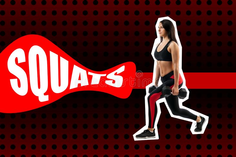 Exercise of squats with weight, performed by a sports woman royalty free stock photography