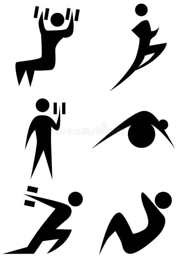 Exercise Stick Figure Set stock illustration