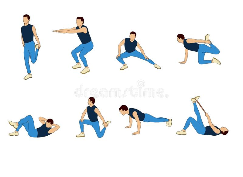 Workout man set,male doing fitness and exercises stock illustration