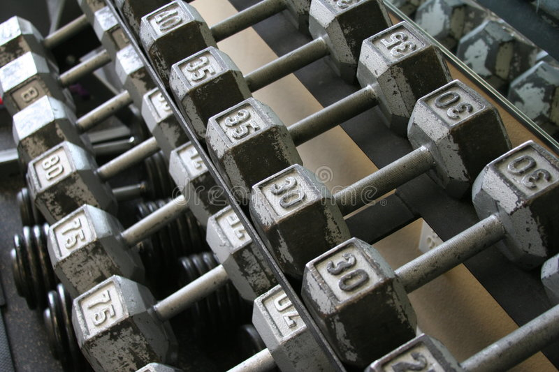 Exercise Weights In Rack Royalty Free Stock Image