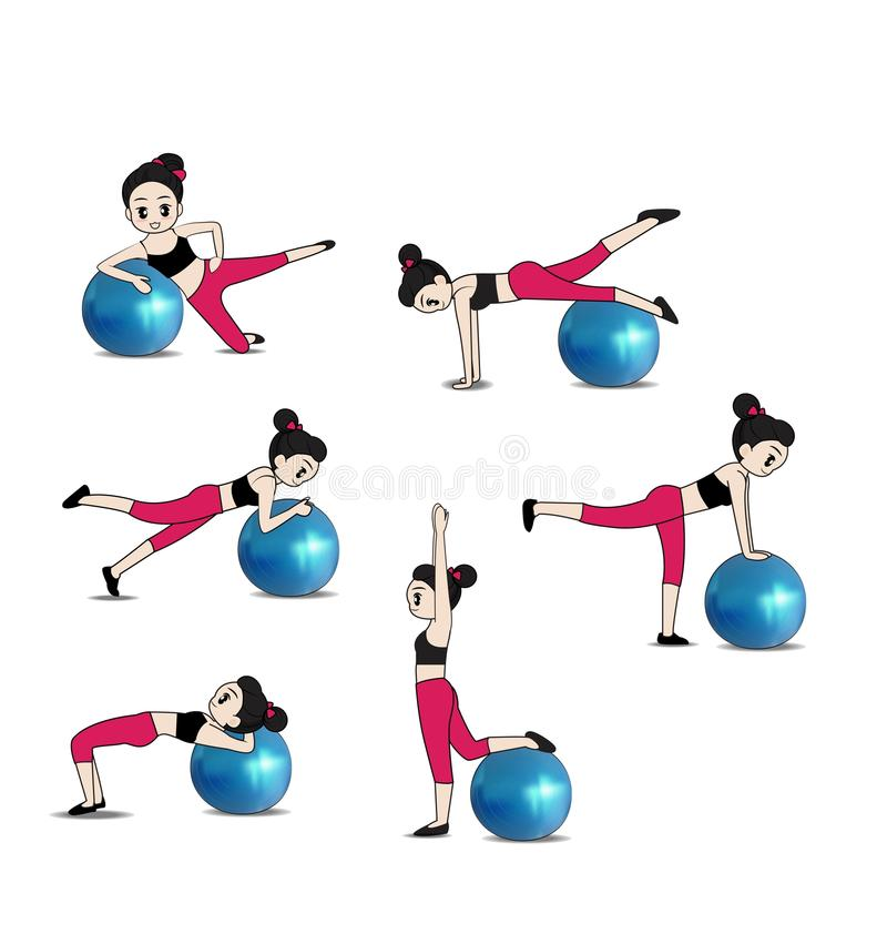 Exercise. Women exercise with ball on white background vector illustration