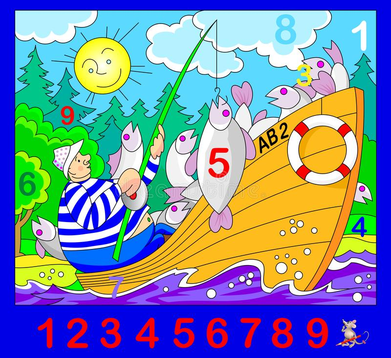 Exercise for young children. Need to find the numbers hidden in the picture. Logic puzzle game. Developing skills for counting. vector illustration