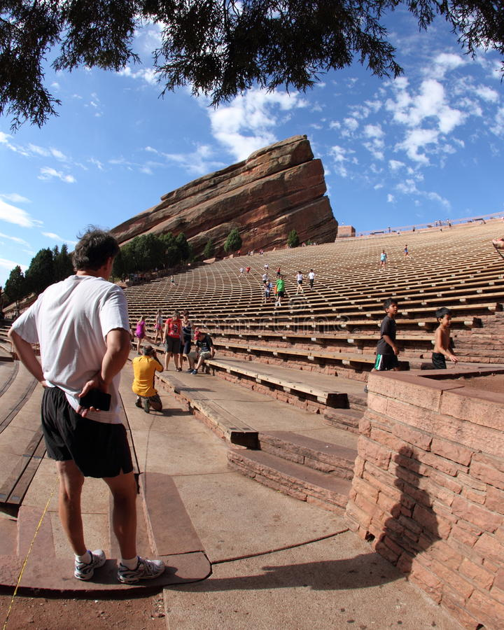 Exerciser resting at Red Rocks Amphitheater