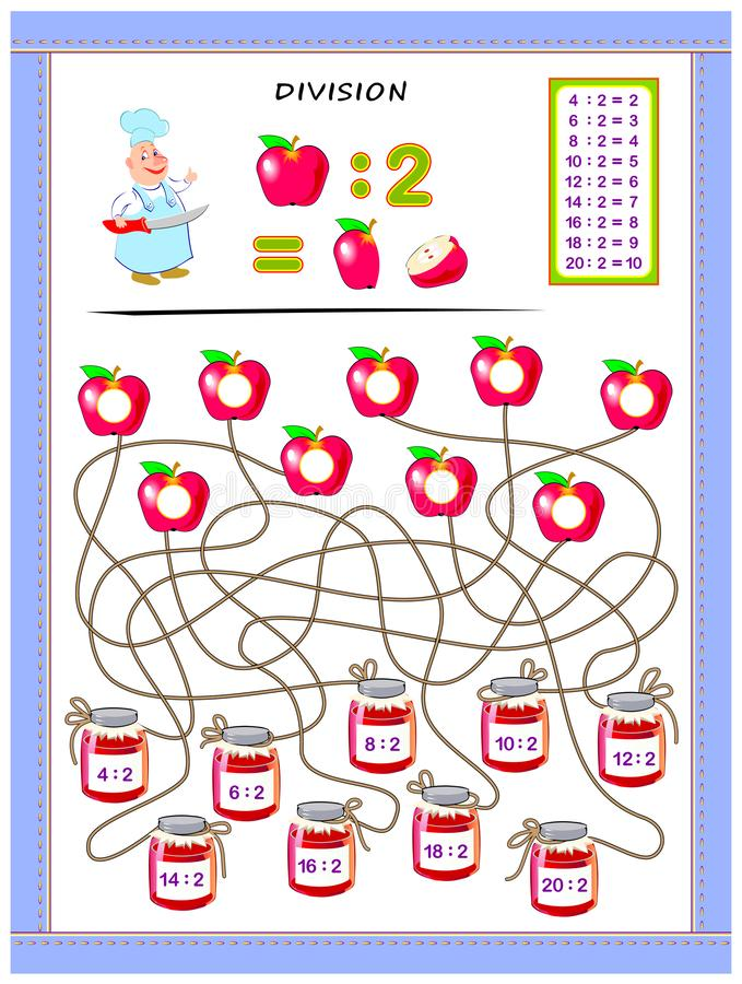 Exercises for kids with division table by number 2. Solve examples and write answers on apples. Educational page for mathematics baby book. Printable worksheet royalty free illustration