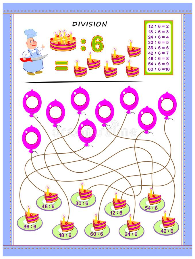 Exercises for kids with division table by number 6. Solve examples and write answers on balloons. Educational page for mathematics baby book. Printable royalty free illustration