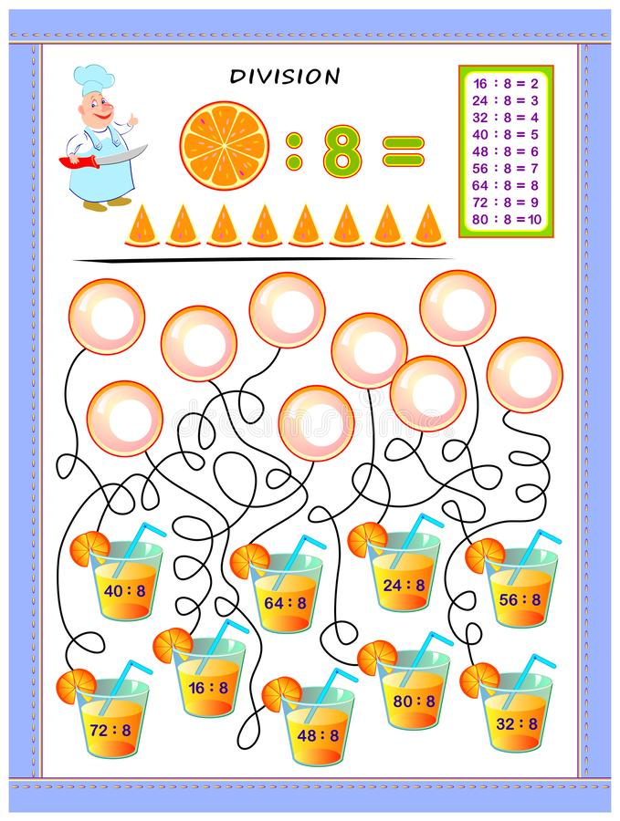 Exercises for kids with division table by number 8. Solve examples and write answers on bubbles. Educational page for mathematics baby book. Printable vector illustration