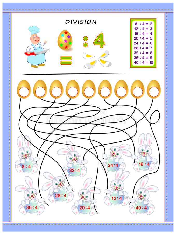Exercises for kids with division table by number 4. Solve examples and write answers on eggs. Educational page for mathematics baby book. Printable worksheet stock illustration