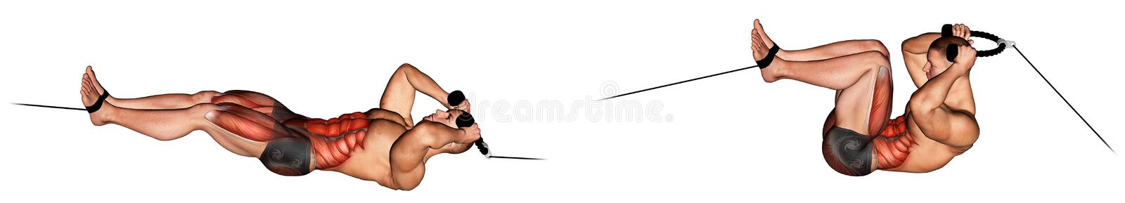 Exercising. Cable Tuck Reverse Crunch stock photos