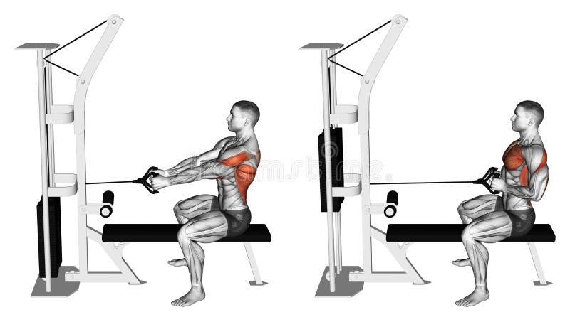exercising Empuje el simulador del bloque a sentarse en el banco stock de ilustración