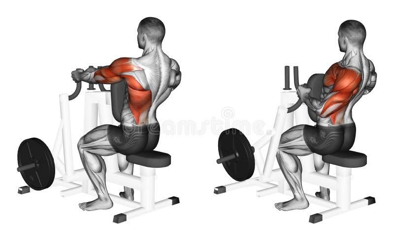 exercising Empuje horizontal en el simulador stock de ilustración
