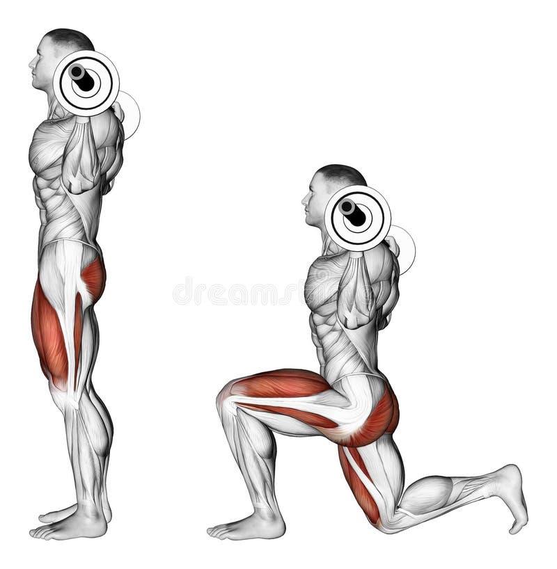 exercising Estocadas con un barbell en sus hombros ilustración del vector