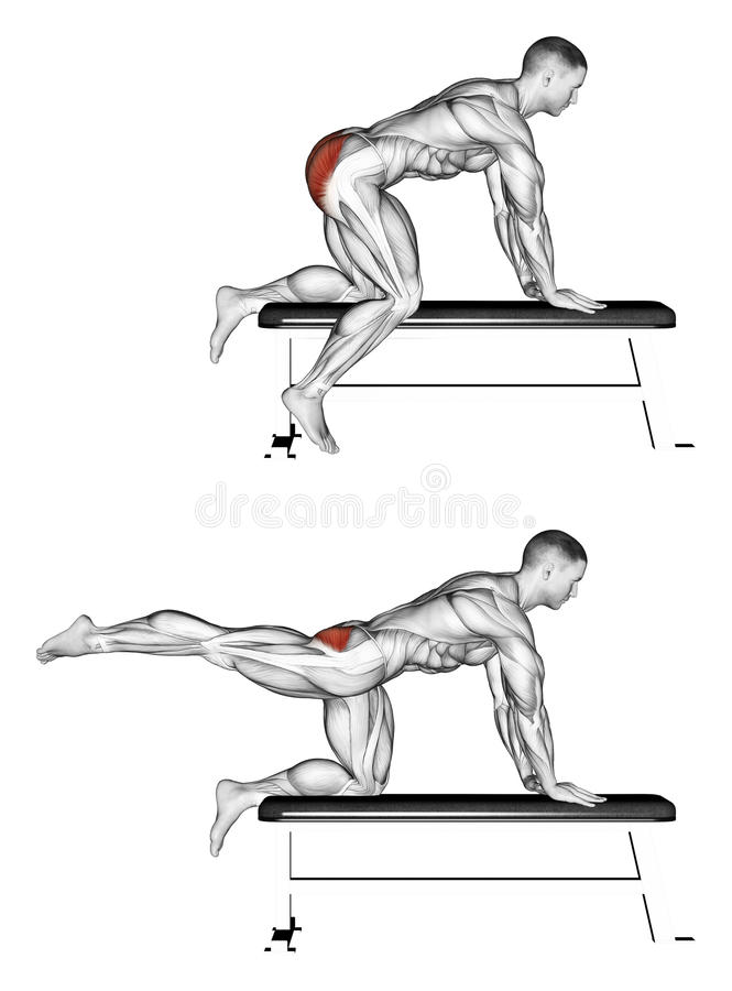 Exercising. Foot moves back to the bench stock illustration
