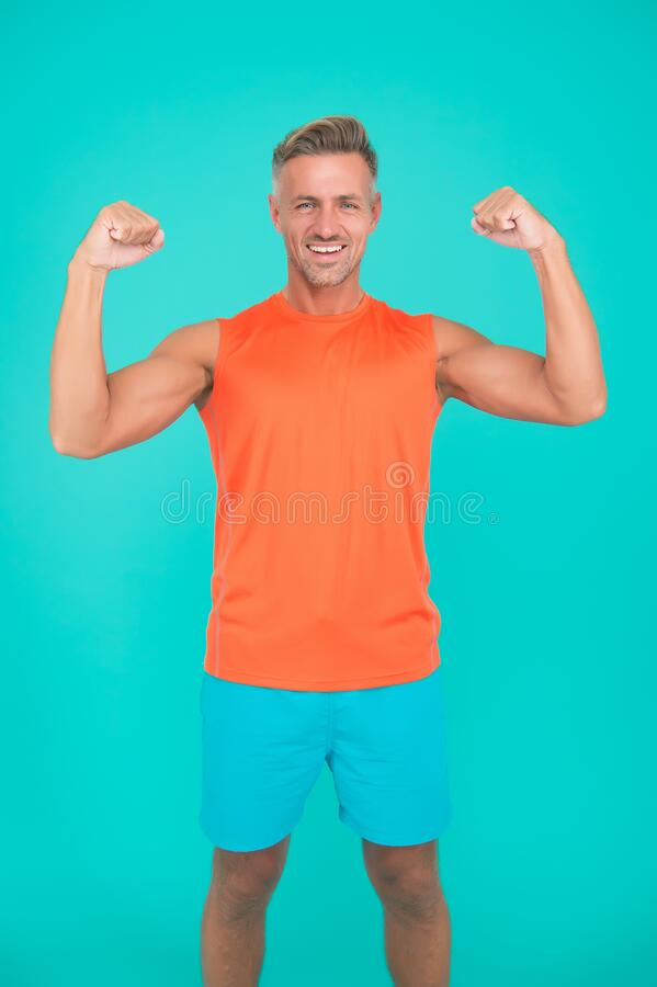 Free Exercising Is Crucial To Combat Stress And Boost Your Immune System. Man Mature Sportsman. Exercising At Home Stock Photography - 178250502