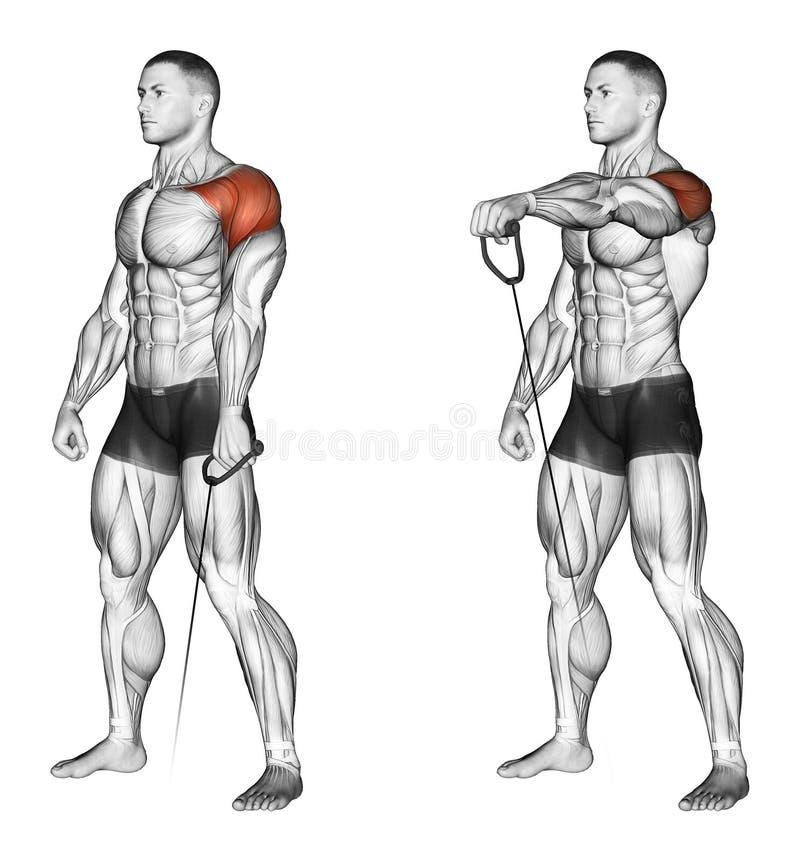 exercising Levantando los brazos adelante con la situación más baja del bloque libre illustration