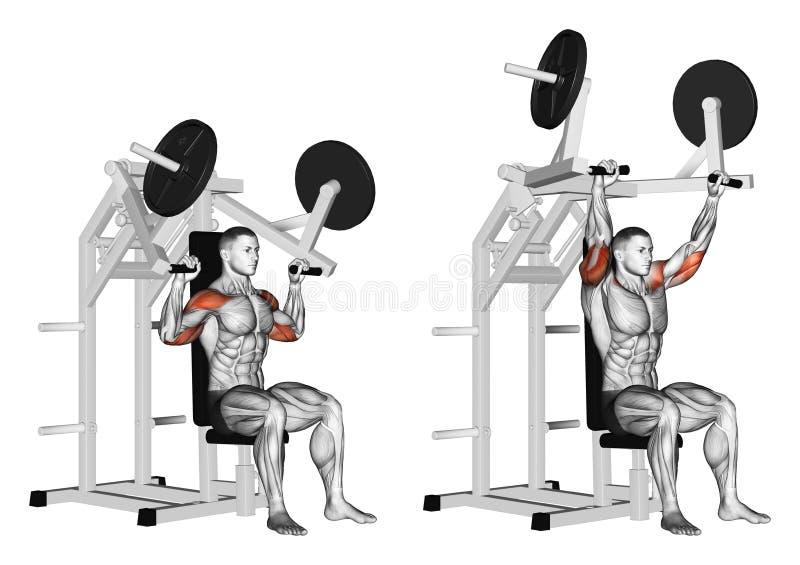 Exercising. Pull hammer on deltoids stock illustration