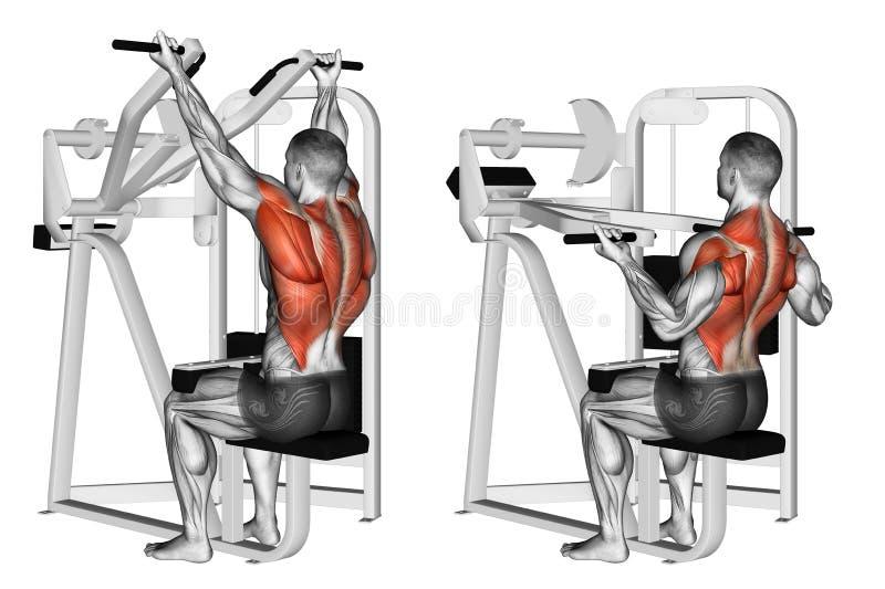 Exercising. Reverse grip machine lat pulldown stock images