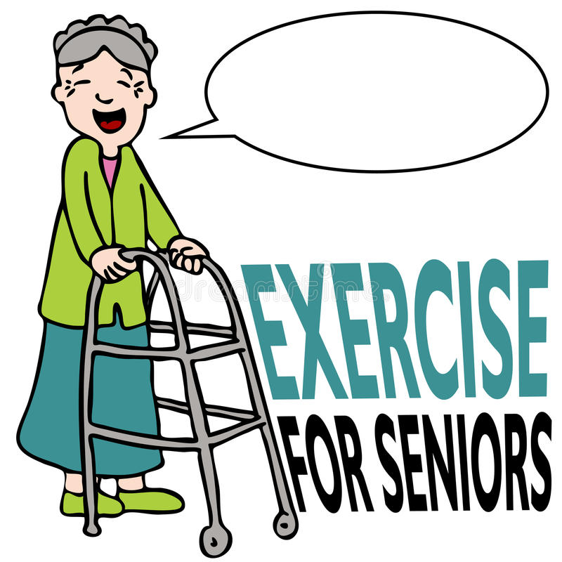 Exercising Senior Lady with Walker royalty free illustration