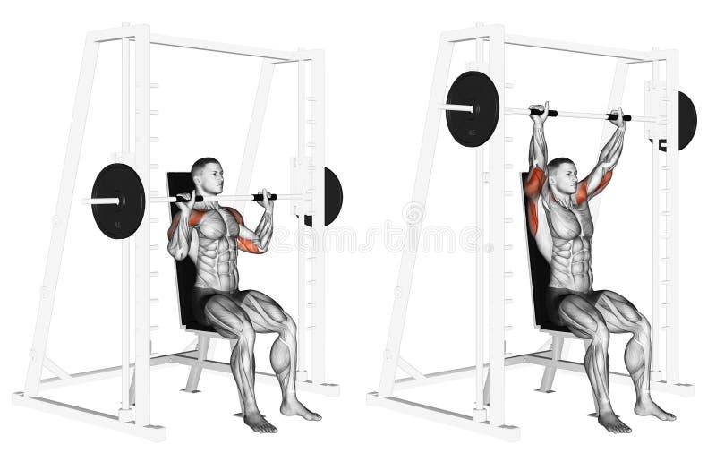 exercising Smith Machine Shoulders Press royalty-vrije illustratie