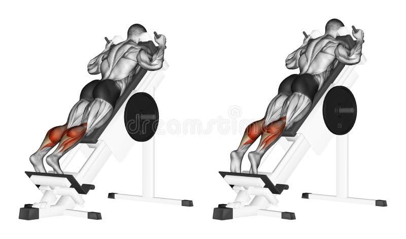 exercising Stijging op tenen die zich in simulator bevinden stock illustratie