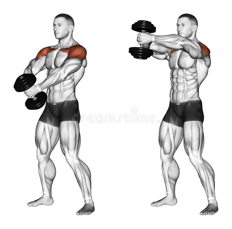 exercising Sube de manos adelante con una pesa de gimnasia ilustración del vector