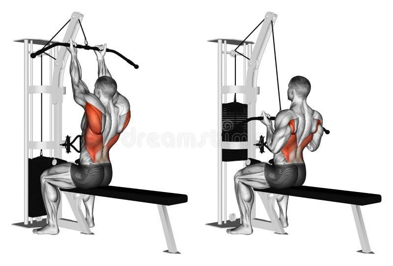 Exercising. Thrust block on top of the simulator reverse grip stock photos