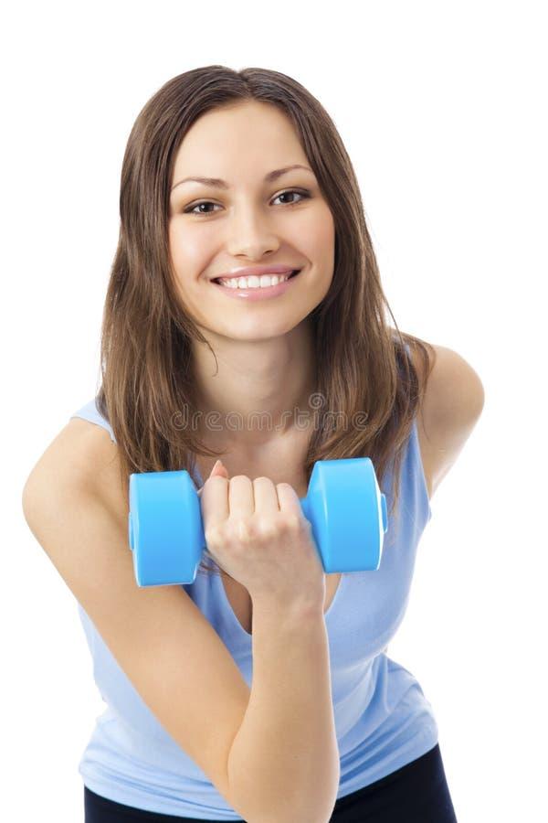 Exercising woman, on white stock image