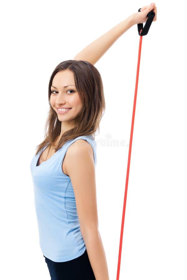 Exercising woman, on white stock photos