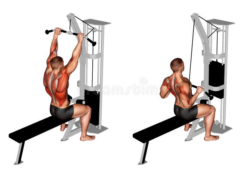 exercising Zijpulldown van de kabelbar royalty-vrije illustratie