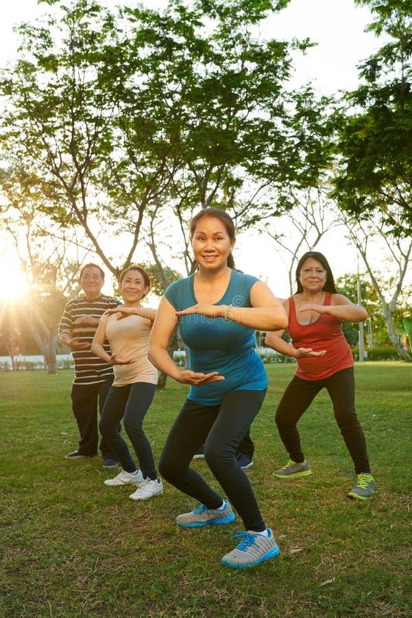 Exercitando povos envelhecidos foto de stock