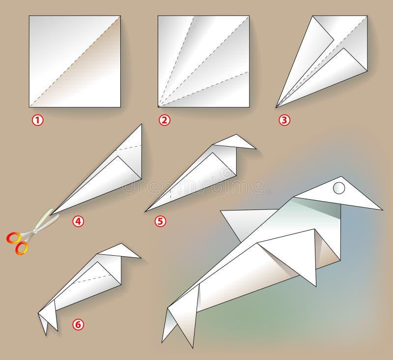 Exercite para crianças - como fazer um pássaro de uma folha de papel ilustração do vetor