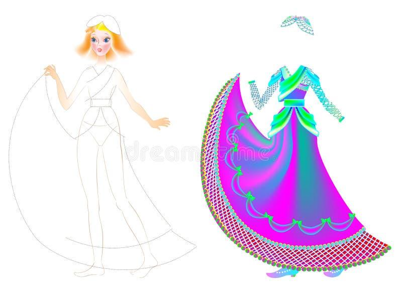Exercite para que as crianças tirem e pintem o vestido bonito para a boneca favorita ilustração do vetor