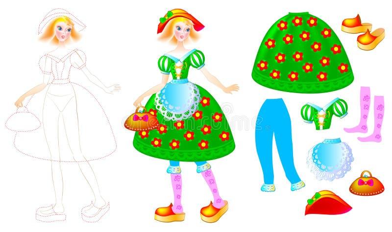 Exercite para que as crianças tirem e pintem o vestido bonito para a boneca favorita ilustração stock
