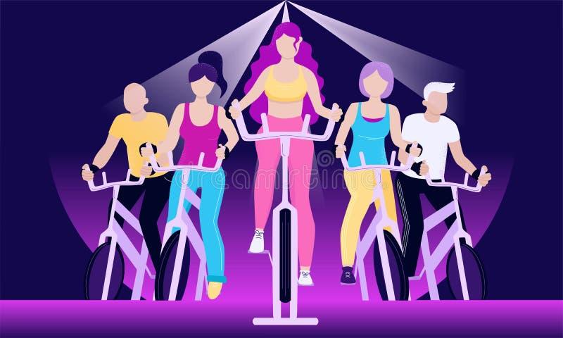 exercycles的匿名的人在转动的类 皇族释放例证