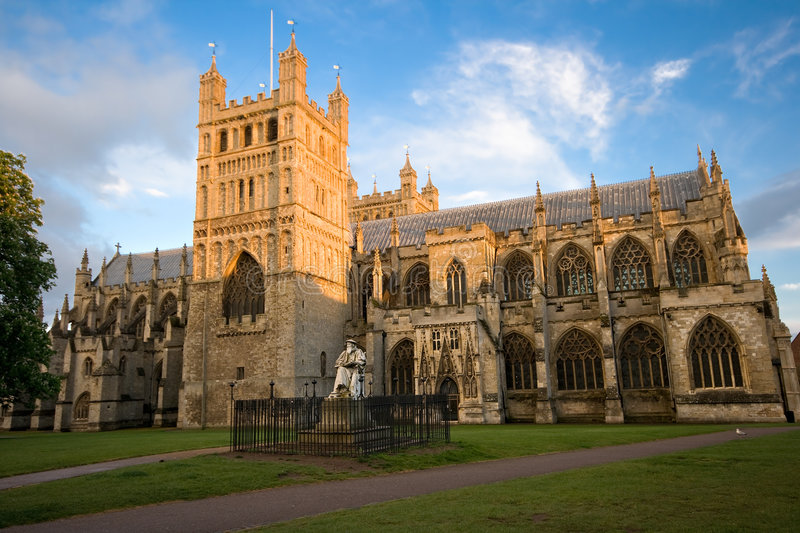 Exeter Cathedral in Devon stock photo