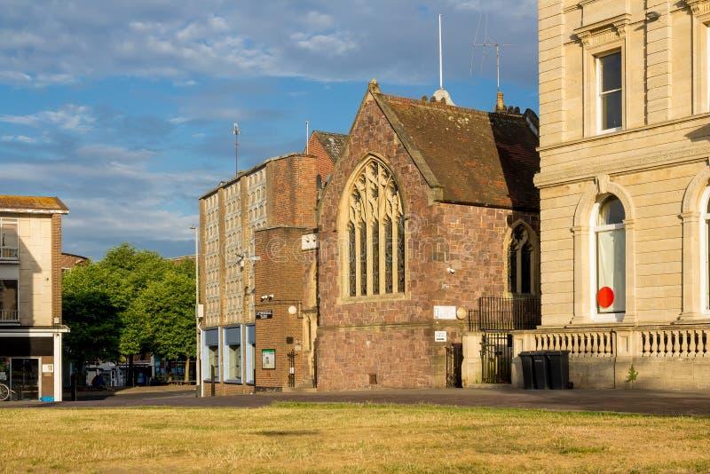 Exeter centrum miasta Katedralny jard zdjęcia stock