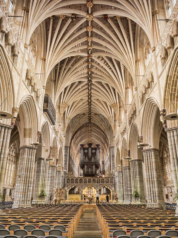 Exeter Katedralny Wewnętrzny UK zdjęcia stock