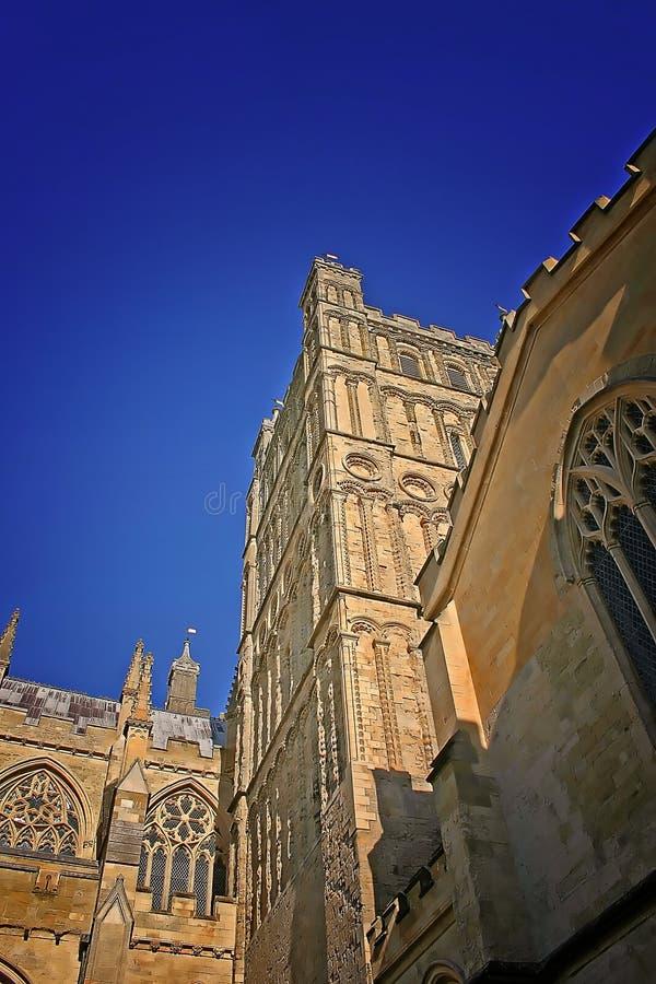 Exeter-Kathedrale am Sommer stockbild