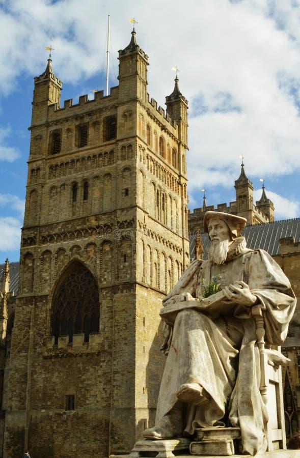 Exeter statua i katedra obrazy stock